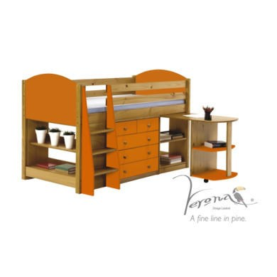 Verona Design Verona Mid-Sleeper Bedroom Set with Pull Out Desk in Antique Pine and Orange