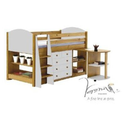 Verona Design Verona Mid-Sleeper Bedroom Set with Pull Out Desk in Antique Pine and White