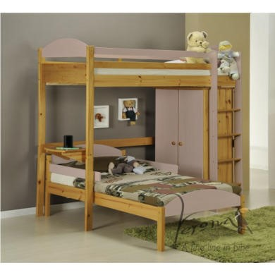 Verona Design Maximus L Shape High-Sleeper Bedroom Set in Antique Pine and Pink