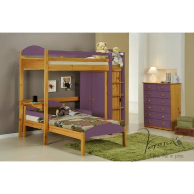 Verona Design Maximus L Shape High-Sleeper Bedroom Set with Drawers in Antique Pine and Lilac