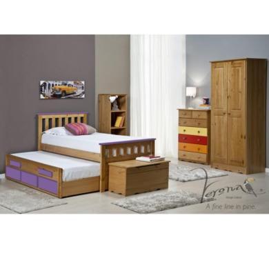 Verona Design Bergamo Captains Guest Bed in Antique Pine and Lilac