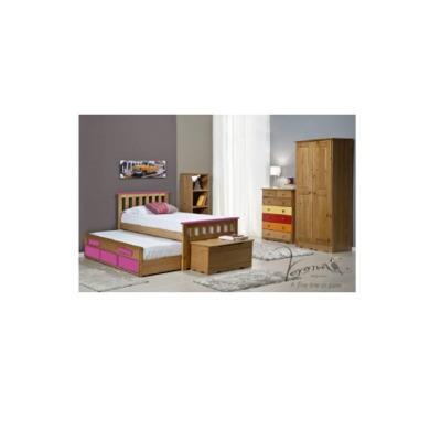 Verona Design Bergamo Captains Guest Bed in Antique Pine and Fuchsia