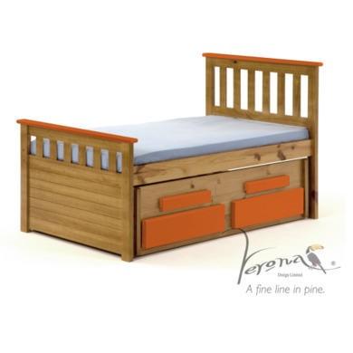 Verona Design Bergamo Captains Guest Bed in Antique Pine and Orange Short