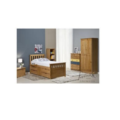 Verona Design Ferrara Captain's Single Storage Bed with 4 Drawers in Antique Pine