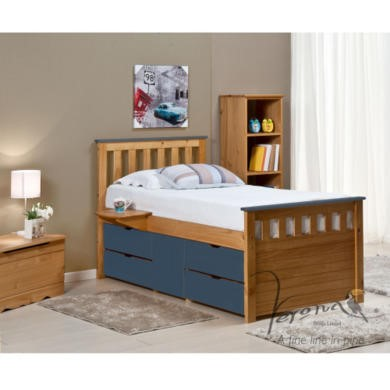 FOL078485 Verona Design Ferrara Captain's Single Storage Bed with 4 Drawers in Antique Pine and Blue