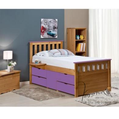 FOL078486 Verona Design Ferrara Captain's Single Storage Bed with 4 Drawers in Antique Pine and Lilac