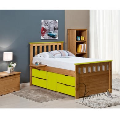 FOL078487 Verona Design Ferrara Captain's Single Storage Bed with 4 Drawers in Antique Pine and Lime