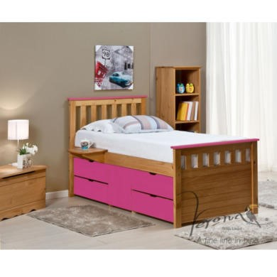 FOL078488 Verona Design Ferrara Captain's Single Storage Bed with 4 Drawers in Antique Pine and Fuchsia