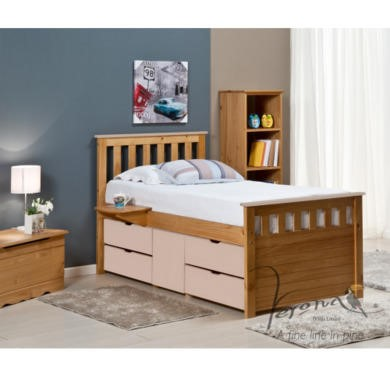 FOL078489 Verona Design Ferrara Captain's Single Storage Bed with 4 Drawers in Antique Pine and Pink