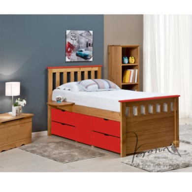 FOL078490 Verona Design Ferrara Captain's Single Storage Bed with 4 Drawers in Antique Pine and Red