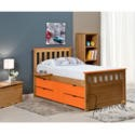 FOL078491 Verona Design Ferrara Captain's Single Storage Bed with 4 Drawers in Antique Pine and Orange