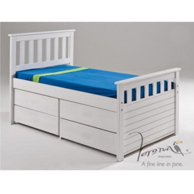 Verona Design Ferra Captain's Single Storage Bed with 4 Drawers in White Short