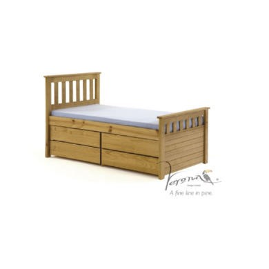 FOL078498 Verona Design Ferra Captain's Single Storage Bed with 4 Drawers in Antique Pine (Short)