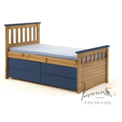 FOL078499 Verona Design Ferra Captain's Single Storage Bed with 4 Drawers in Antique Pine and Blue (Short)