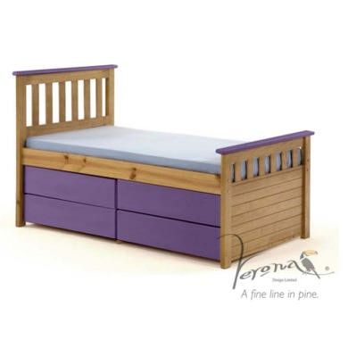 FOL078500 Verona Design Ferra Captain's Single Storage Bed with 4 Drawers in Antique Pine and Lilac (Short)