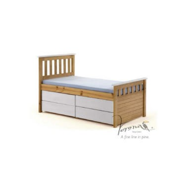 Verona Design Ferra Captains Single Storage Bed with 4 Drawers in Antique Pine and White (Short)