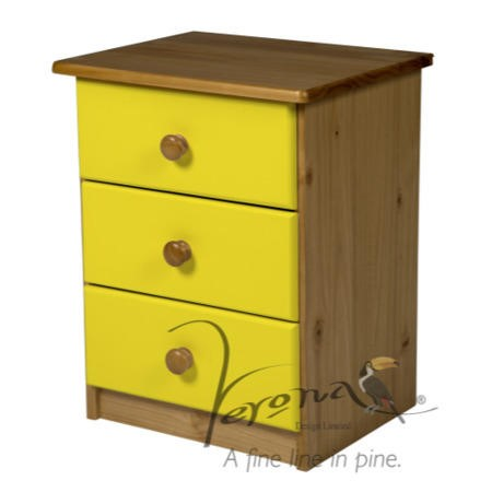 Verona Design Verona 3 Drawer Bedside Table In Antique
