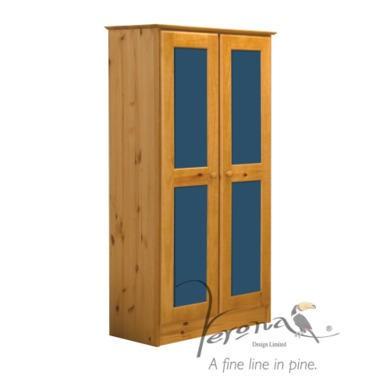 Verona Design Verona 2 Door Wardrobe in Antique Pine and Blue