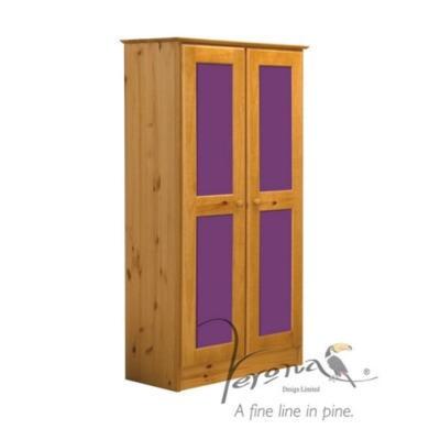 Verona Design Verona 2 Door Wardrobe in Antique Pine and Lilac