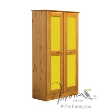 Verona Design Verona 2 Door Wardrobe in Antique Pine and Lime