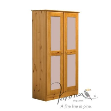 Verona Design Verona 2 Door Wardrobe in Antique Pine and Pink