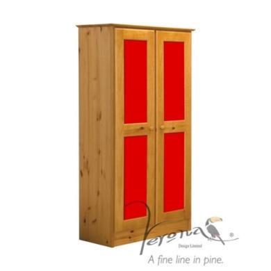 Verona Design Verona 2 Door Wardrobe in Antique Pine and Red