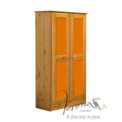Verona Design Verona 2 Door Wardrobe in Antique Pine and Orange