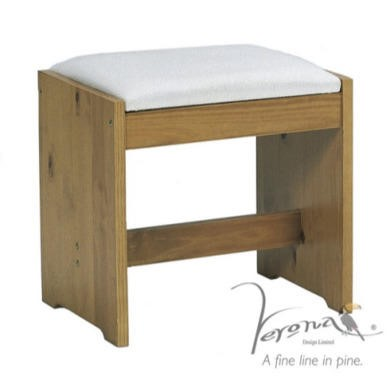 Verona Design Verona Upholstered Dressing Table Stool In Antique Pine
