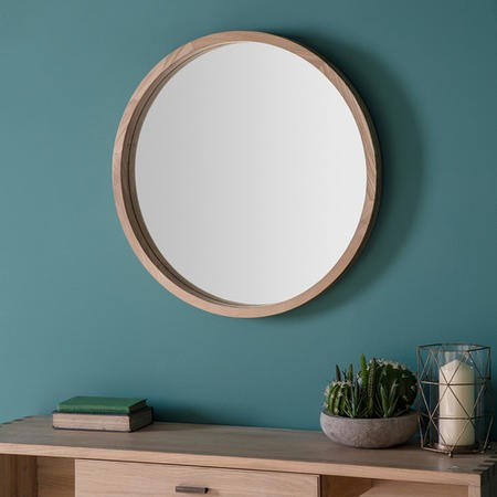 Gallery Bowman Round Mirror With Wooden Frame Furniture123