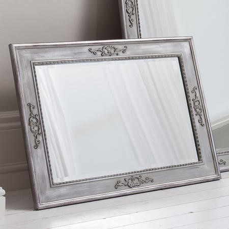 Grey Carved Rectangle Wall Hanging Mirror - Caspian House