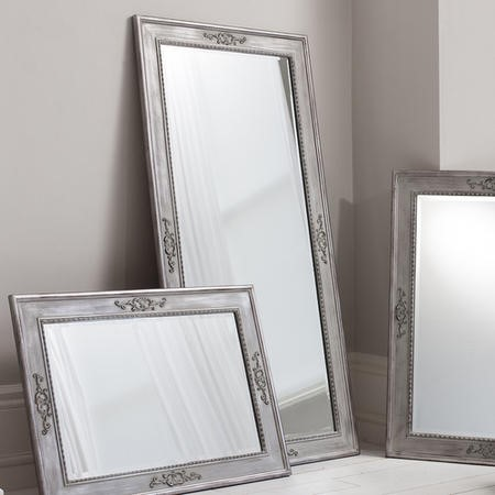 Ellesmere Carved Large Floor Standing Mirror In Grey