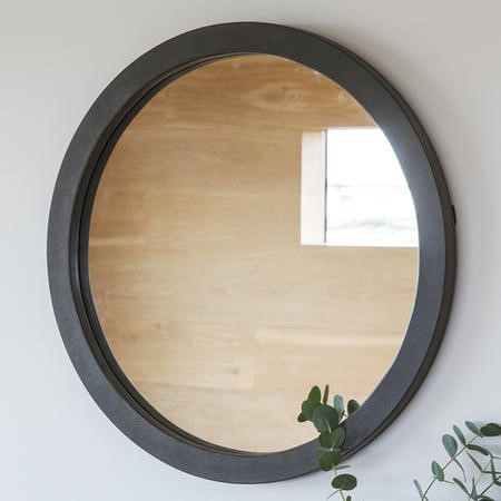 Gallery Garfield Round Wall Hanging Mirror In Grey