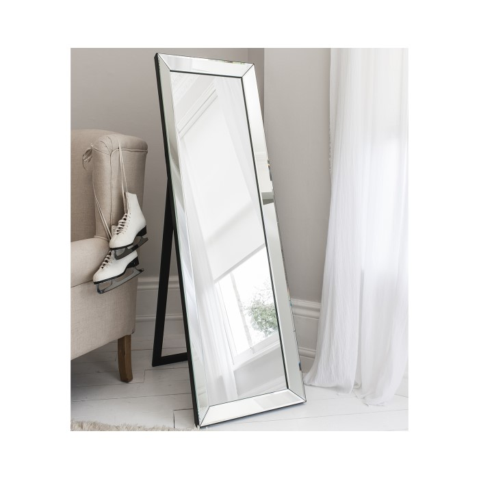Luna Cheval Rectangle Mirror with Mirrored Frame | Furniture123