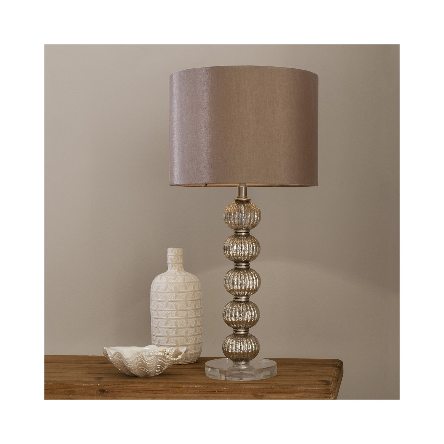 Gold Table Lamp With Bauble Base Satin Shade Adriana Furniture123