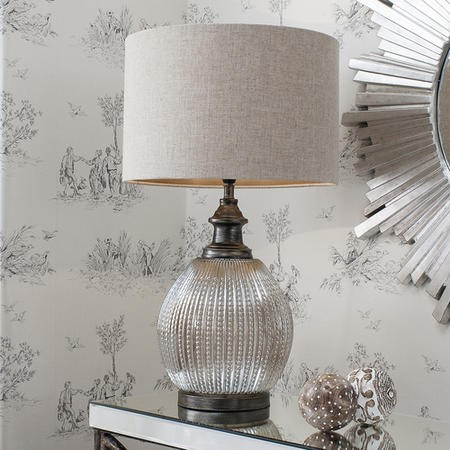Bernardo Glass Table Lamp with Natural Fabric Shade