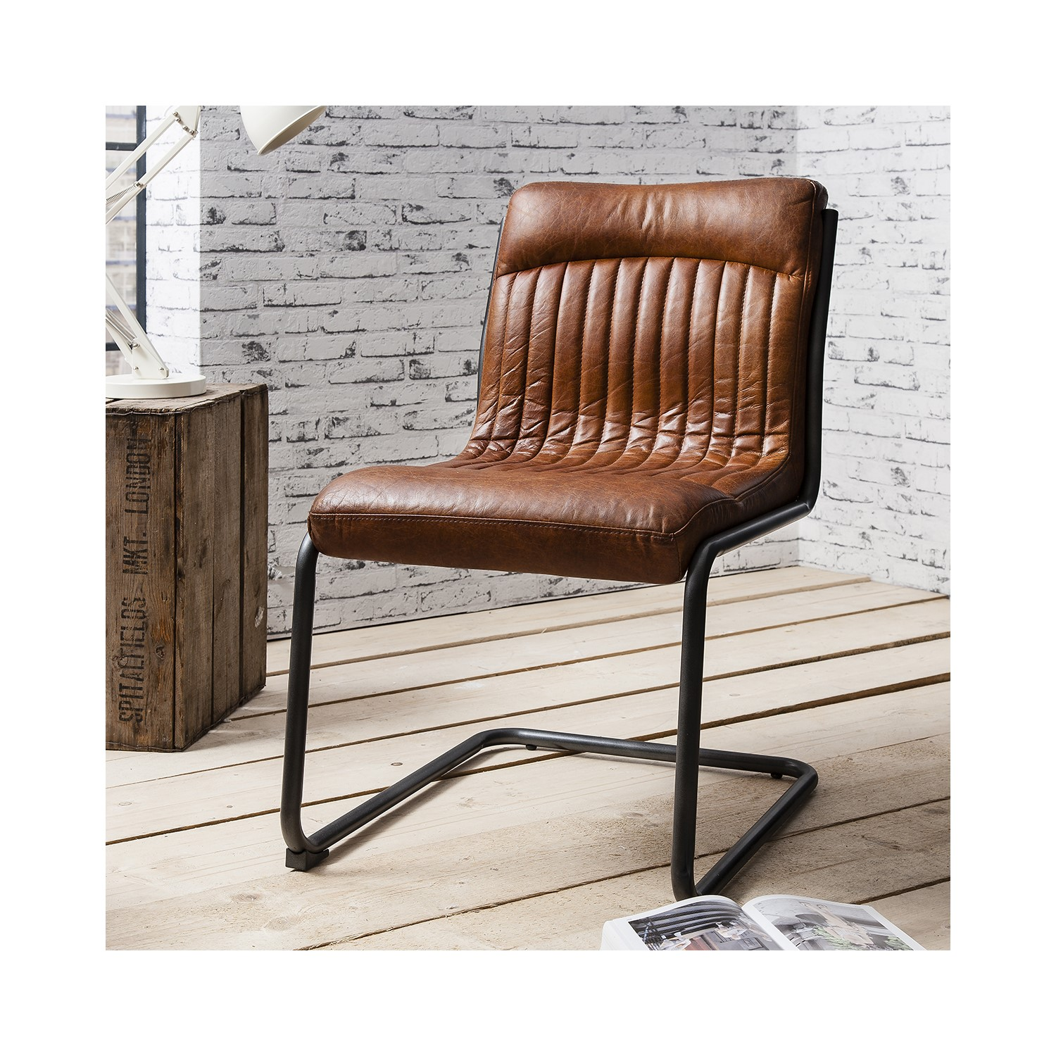 225 & Capri Leather Chair - Industrial Dining Chair in Antique Tan