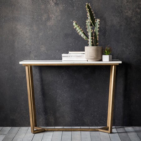 Gold Metal Console Table with Marble Top - Caspian House