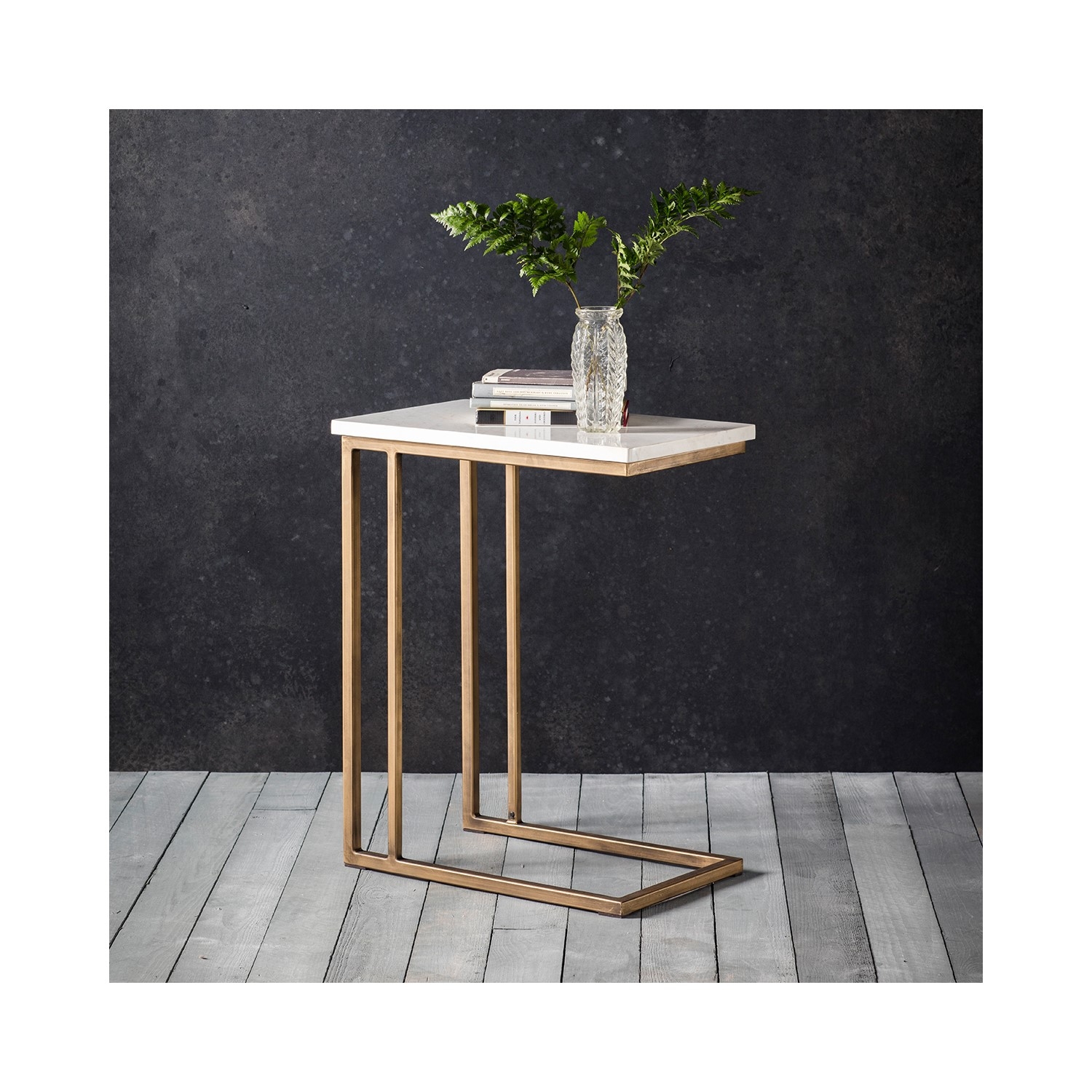 Grade A1 Hudson Living Cleo Sofa Side Table With White Marble Top Metallic Gold Legs Furniture123