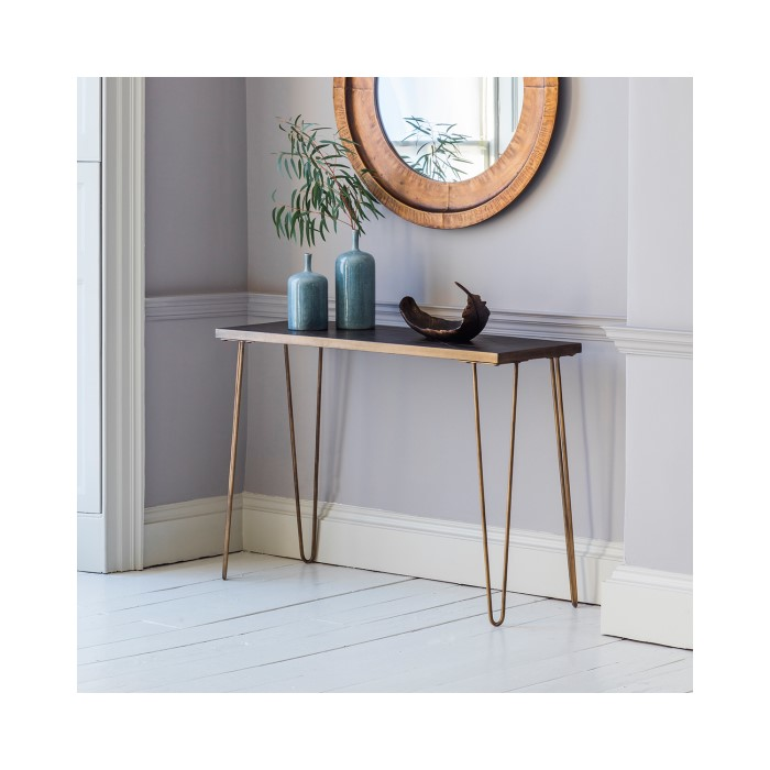 Pompeii Industrial Console Table With Gold Metal Hairpin Legs Furniture123