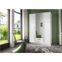 Evoque Large High Gloss White Wardrobe with Chrome Trims