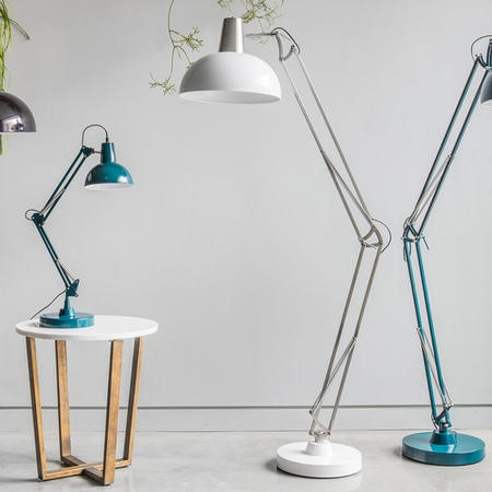 Floor Lamp in White & Metal - Watson