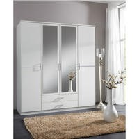 Evoque White 4 Door 2 Drawer Wardrobe with Crystal Effect Detail