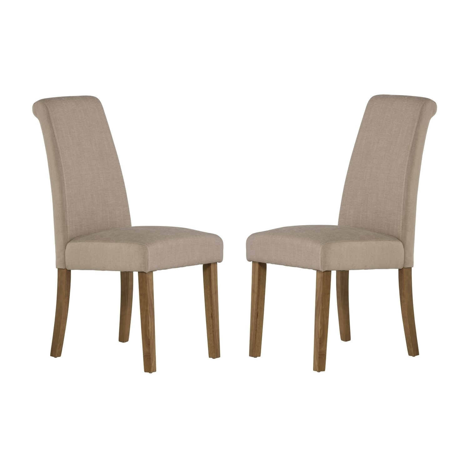 Tuscany Pair Of Dining Chairs In Beige Fabric Furniture123