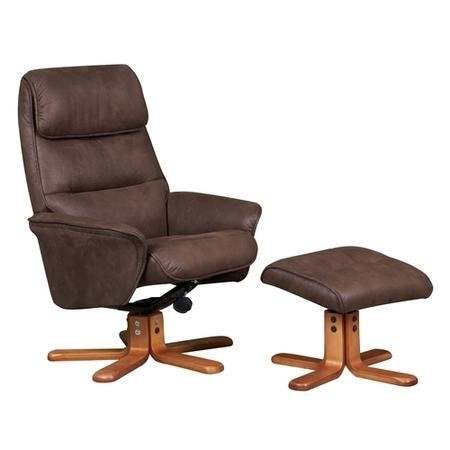 Amalfi Swivel Recliner and Footstool in Brown Faux Suede