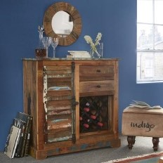 7eee110732 Coastal Reclaimed Wood 2 Drawer 1 Door Sideboard with Wine Rack