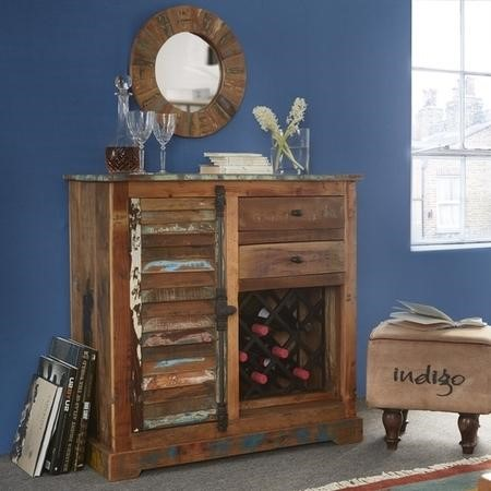 Coastal Reclaimed Wood 2 Drawer 1 Door Sideboard with Wine Rack