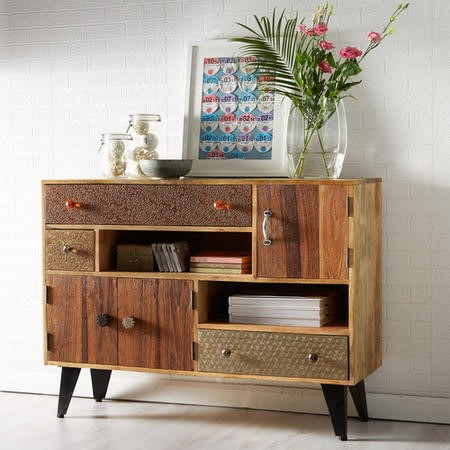 Sorio Handcrafted Multi Drawer Reclaimed Wood Storage Cupboard