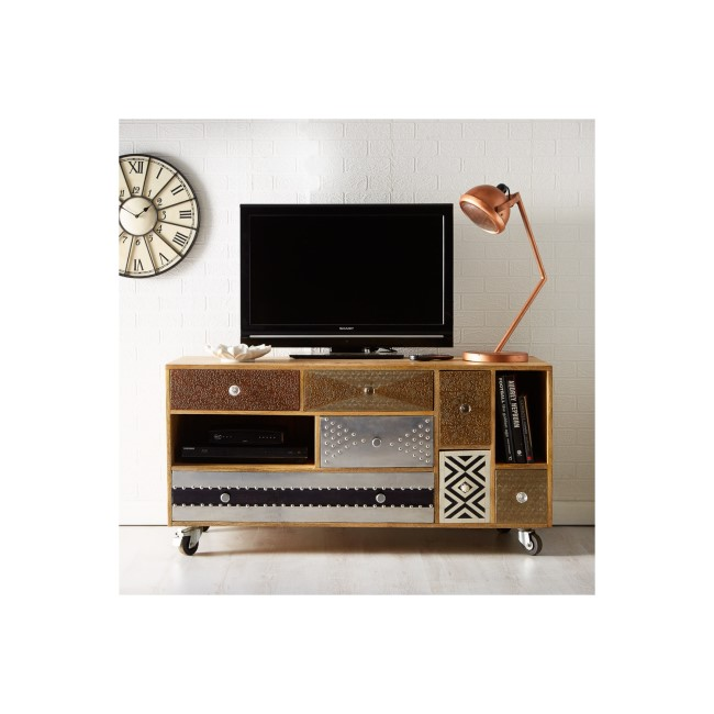 Sorio Multi Drawer Reclaimed Wood TV Unit - TV's up to 50""