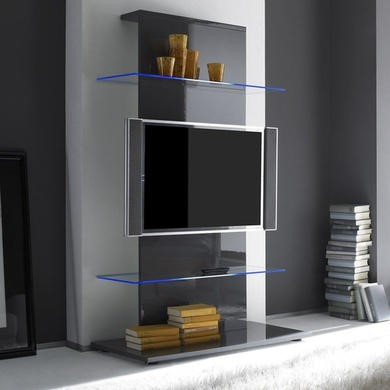 Evoque Grey High Gloss LED TV Stand Media Unit  - Holds 65 inch TV