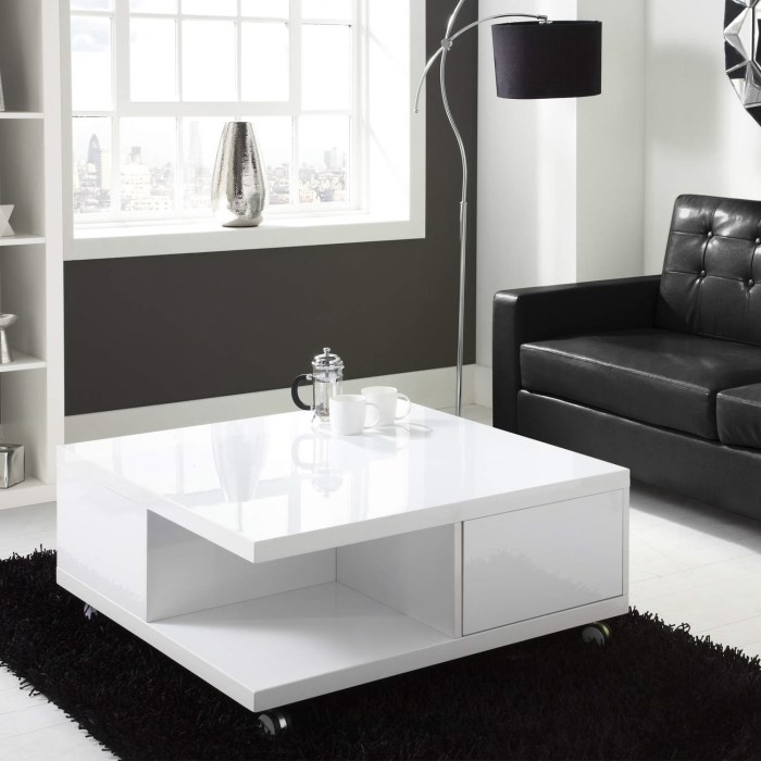 Rectangle High Gloss White Coffee Table With Led Lighting: Tiffany White High Gloss Square Storage Coffee Table